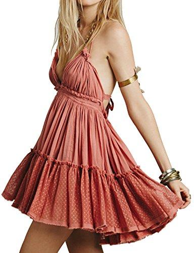 R.Vivimos Womens Summer Halter Deep V Neck Sexy Patchwork Mini Short Dresses Medium Pink