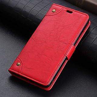 ノキア7.1プラス/ノキアX7用電話ケース携帯電話アクセサリー、レトロPUレザーウォレットは、スタンドとカードスロット(ブルー)とケースカバーフリップ-Red