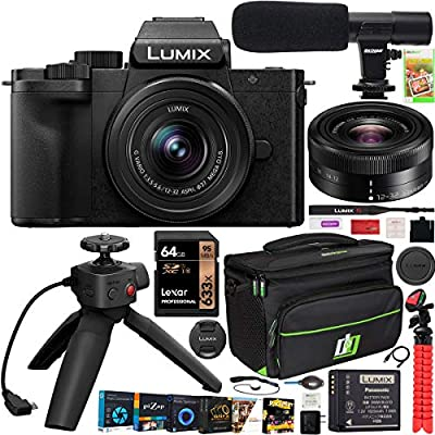 Panasonic DC-G100VK LUMIX G100 Mirrorless Camera 4K Vlogging Kit with 12-32mm Lens + DMW-SHGR1 Tripod Grip Bundle with Deco Gear Case + Microphone + 64GB Card + Photo Video Software Kit & Accessories by Panasonic