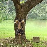 FONDUO Baumstamm Deko mit Nachtlicht,4-teilig Baumgesichter für Bäume, Alter Mann Baumgesicht Baumumarmer, Garden Peeker Yard Art Baumgesicht Alter Mann, Gartendeko (Baumgesicht F)