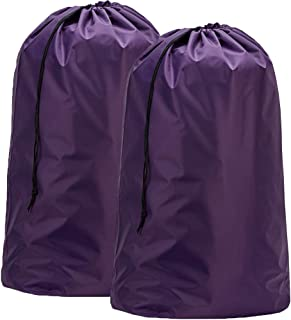 HOMEST 2 Pack XL Nylon Laundry Bag, Machine Washable Large Dirty Clothes Organizer, Easy Fit a Laundry Hamper or Basket, Can Carry Up to 4 Loads of Laundry, Purple