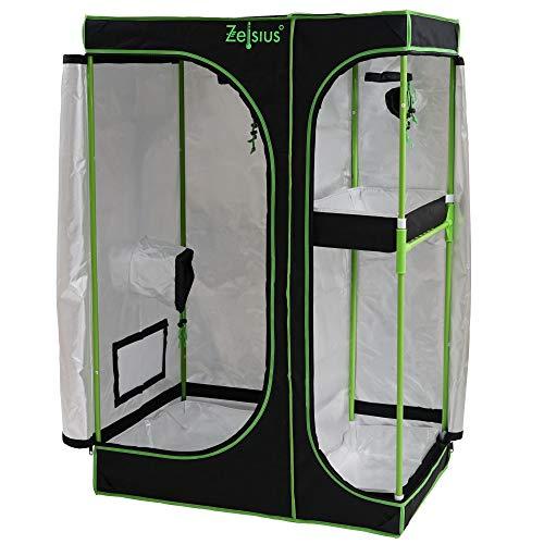 Zelsius Growzelt MyHomeGrow 2-in-1 Grow Tent | Indoor Growbox | schwarz grün | Growroom Growschrank Darkroom Pflanzenzelt Gewächshaus Zuchtzel (120 x 90 x 145 cm)
