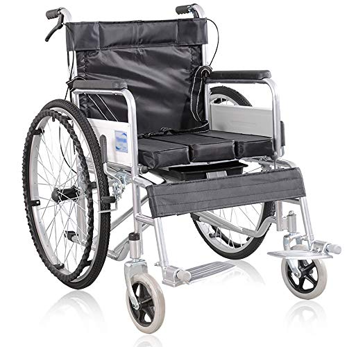 HSRG Silla de Ruedas Plegable del tocador, Pipa de Acero Que rocía la Silla de Commode para los Ancianos, discapacitados Manual
