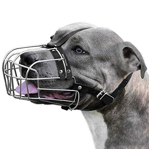 BRONZEDOG Dog Muzzle Pitbull Metal Mask Amstaff Wire Basket Pit Bull Adjustable Leather Straps for Large Dogs