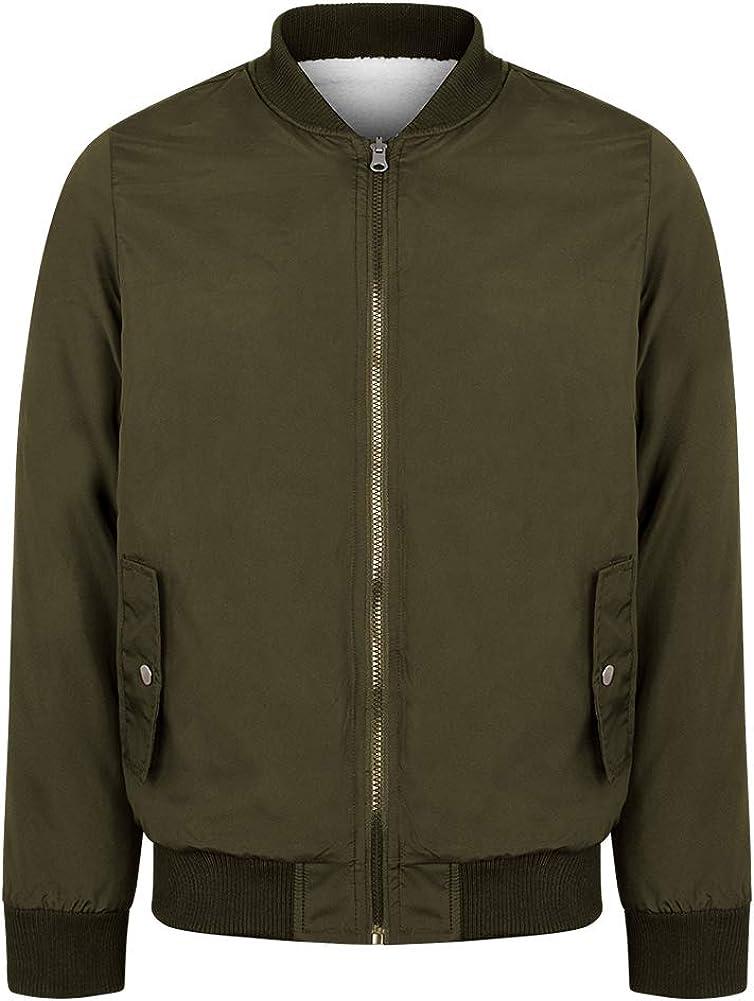 Mens Bomber Jacket Reversible Sherpa Fleece Winter Coat