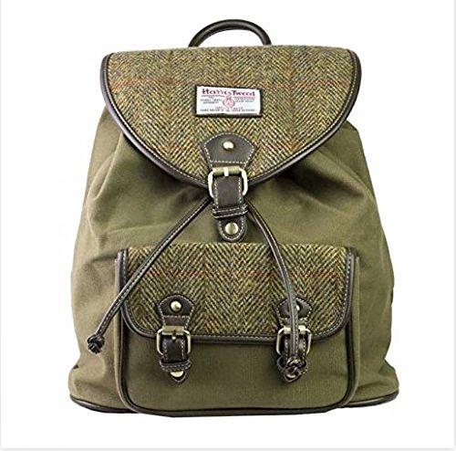 Genuine Harris Tweed & Green Canvas Rucksack / Backpack