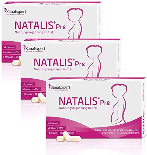 SanaExpert Natalis Pre Kapseln bei Kinderwunsch & Schwangerschaft im 1. Trimester, Vitamine, Folsäure, Nährstoffe (3)