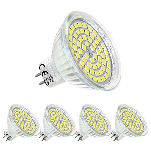 Bombilla LED GU5.3 MR16 12V Blanco Natural 4000K,5W Equivalente a 50W Halógena,GU 5.3 Foco,AC/DC12V,ángulo de az de 120°,paquete de 4