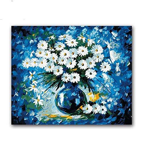 Pintura por números Bricolaje Pintura por Digital Blue Daisy Vase Arreglo floral Diy Pintura digital para colorear sobre lienzo Dibujo con bolsa-40X50 (Sin marco) DIY Pintura al óleo