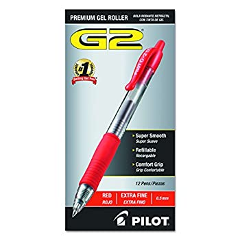 PILOT G2 Premium Refillable & Retractable Rolling Ball Gel Pens Extra Fine Point Red Ink 12-Pack  31004