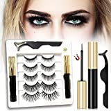 ME LUXE Magnetic Eyelashes with Eyeliner Kit, 5 Pairs Of Reusable False Lashes with 2 Magnetic Eyeliner Natural Look Long Full & Dramatic Looking Eyelashes Set Comes With Applicator - No Glue Needed