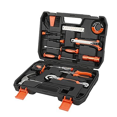 ValueMax 30 piezas Caja de herramientas de reparación del hogar, kit de herramientas generales con caja de almacenamiento, Maletín de herramientas ideal para uso doméstico o laboral