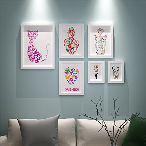 QX IAIZI 6 Stück/Set Bilderrahmen Sets, Collage Vintage Bilderrahmen Wanddekoration, Porta Retrato Moldura (Farbe : White Cat)