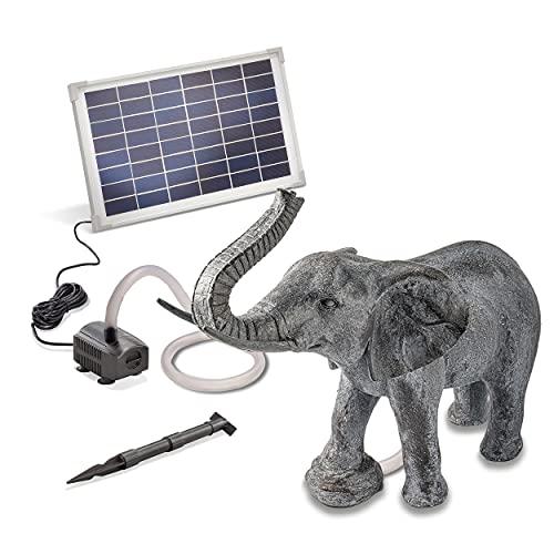 Solarbetriebener Wasserspeier Elefant - inkl. Solar Teichpumpe 12 Watt 650 l/h - Maße ca. 490 x 240 x 460 mm - Wasserspiel für Gartenteich Teichfigur Gartenbrunnen, esotec 101654
