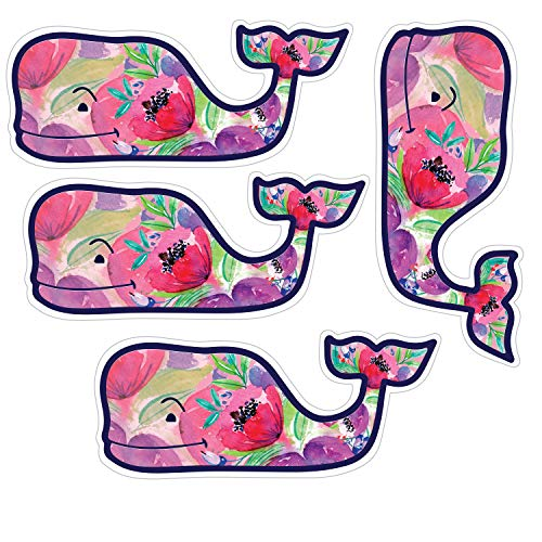 "Vineyard Vines Colorful Flower Whale Stickers, Vinyl Decal - UV Protected & Waterproof, 2"" x 4.5"