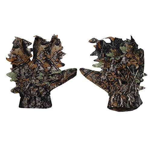 MEROURII Ghillie Camouflage Handschuhe,Jagd Camouflage Handschuhe 3D Leaf Handschuhe Militär CS Woodland Hunting Camouflage Zubehör