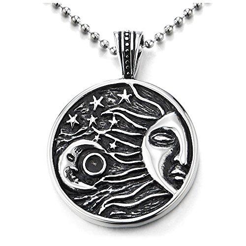 COOLSTEELANDBEYOND Negro Plata Creciente Luna Sol Estrella Universo Celestial Medalla, Collar de Círculo, Colgante de Hombre Mujer, Acero