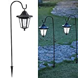 Upgrade Unique Style Lantern: MAGGIFT 37.8 Inch Hanging Solar Lights with 2 Shepherd Hooks suitable for outdoor garden decorations use, add a charming ambience, perfect use on pathway, decorate your garden, porch or yard. These lanterns can also be h...