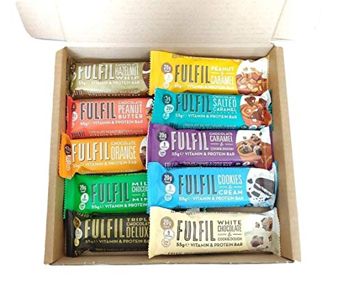 Fulfil Vitamin & Protein Bars Variety Pack - 10 x 55g Bars - One of Each Flavour - Low Sugar High Protein High Fibre - Contains 9 Vitamins (100% RDA) (10 Bars Variety Pack)