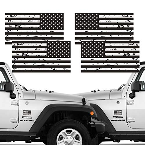 Reflective 2 Pairs Subdued Tattered Reverse Forward American Flag Sticker 2.7 X 5 Tactical Military Flag US Decal | Compatible with SUV, Hard Hat, Car Vinyl Window Bumper Decal Sticker