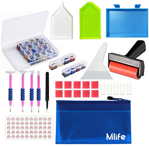 Mlife 33PCS 5D Diamond Painting Tool Kit - 5D DIY Diamond Painting Accessories with Diamond Painting Roller and Diamond Embroidery Box for Adults or Kids
