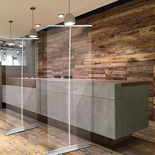 Partitions Transparent Hygiene Screen, Floor Standing Screen, Floor Standing Sneeze Guard, Transparent Roll Up Banner for Cafes, Restaurant, Cashier