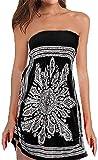 QegarTop WomenTube Dress Coverup Strapless Beach Dress Swimwear Boho Bathing Covers Black