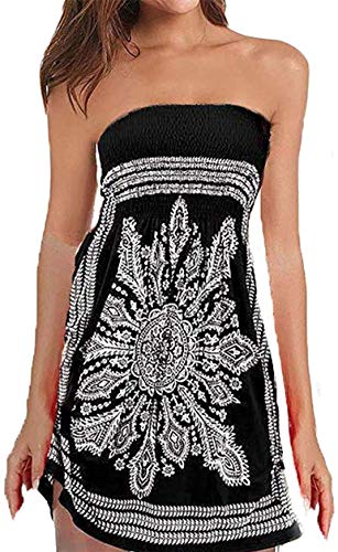 Initial Womens Strapleess Bohemian Beach Cover-up Dress