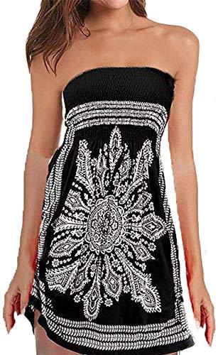 QegarTop Women Coverup Summer Strapless Beach Dress Swimwear Boho Bathing Covers Black
