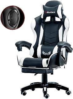 TYXL Gaming Chair Gaming Silla con Altavoces Bluetooth, Respaldo Alto Ajustable Silla Silla de Juegos Electronic Sports Adulto con el reposapiés, Deber ergonómico Oficina Escritorio de la computadora