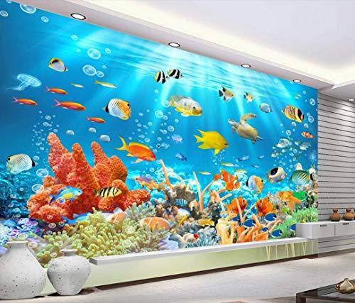 Fototapete Unterwasserwelt Fisch Koralle Tapete 3D Fototapete 3D Effekt Tapeten Wandbilder Wohnzimmer Wanddeko