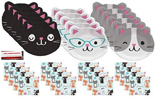 Purr-FECT Cats Party Supplies Bundle Pack for 16 Guests (Plus Party Planning Checklist by Mikes Super Store)