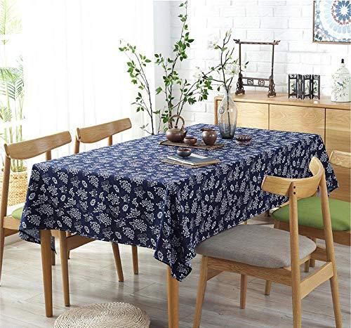Tischdecken Staubdicht Knitterfrei Verschleißfest Atmungsaktiv Blaudruck Baumwolle Retro Rechteckig Tischtuch Quadratischer Tisch Runder Tisch Betrunken Schmetterlingsblume 90X90cm(35.4X35.4inches)