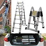 5M/16.5Ft Telescopic Ladder DIY Aluminum Alloy Folding Extendable Folding Extension A Frame Heavy Duty Portable Trade Domestic Ladder EN131 (Load Capacity 150kg) with Non-Slip Feet & Stabiliser Bar