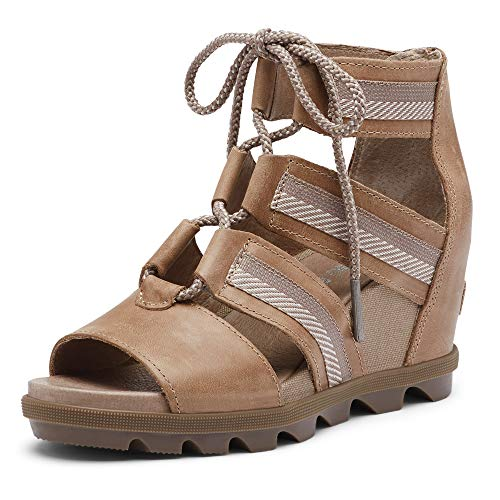 Sorel - Women's Joanie II Lace, Leather or Suede Sandal with Wedge Heel, Ash Brown, 10 M US