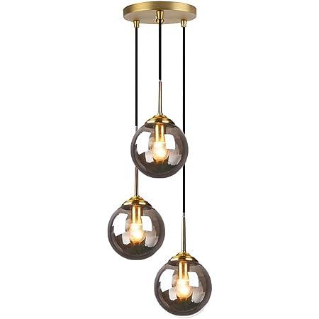 HJXDtech Verre Suspension Luminaire Vintage Industrielle, Plafonnier avec fini en laiton poli Lustre Suspension Lampe de Salle à Manger Cuisine Salon Chambre (Gris, Ensemble 3 en 1)
