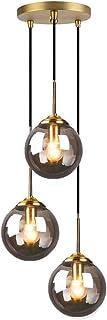 MZStech Industriel Rétro Loft 3 Voies Suspension, Cluster Lustre Suspendu Lampe Luminaire En Laiton Raccords avec Verre Gl...