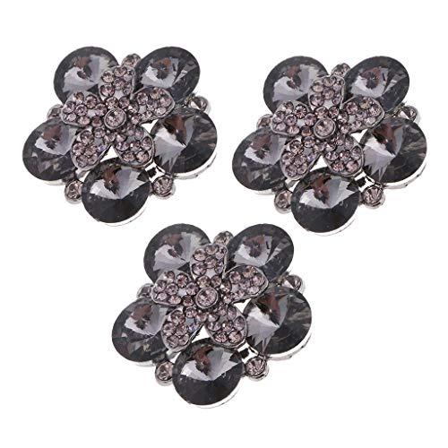 freneci 3 Botones de Diamantes de Imitación de Cristal de Flores con Adornos de Costura de Bricolaje de Vástago