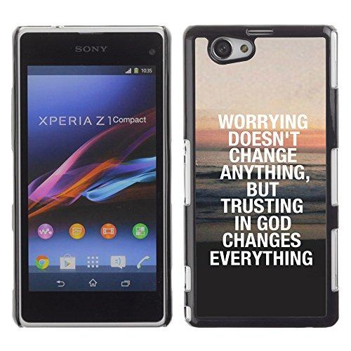 DREAMCASE Bibelzitate Bild Hart Handy Schutzhülle Schutz Schale Case Cover Etui für Sony Xperia Z1 Compact D5503 - Vertrauen in Gott Alles Shanghai