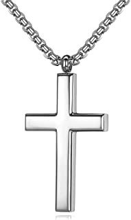 Simple Men's Stainless Steel Cross Pendant Chain Necklace for Men Women, 20-24 Inches Chain