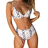 RUUHEE Women Leopard Print High Waisted Cheeky 2 Piece Bikini Bathing Suits (M(US Size 4-6),Gray-2)