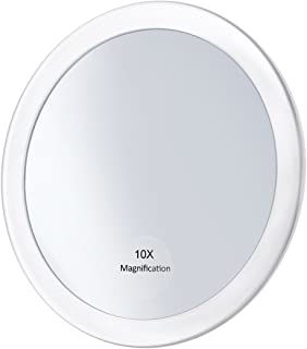 Frcolor Make Up Mirror - 10x Magnifying 5.9 inch Round Vanity Cosmetic Mirror with 3 Suction Cups for Cosmetic Makeup (White)
