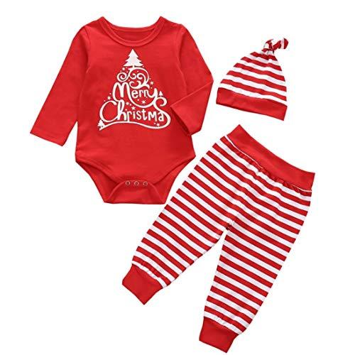 Fossen My First Christmas Disfraz Navidad Bebe niño niña Ropa de Conjunto Monos + Pantalones + Sombrero (0-6 Meses, Santa Claus)