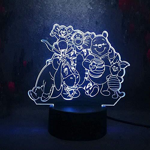 Veilleuse 3D Winnie L'Ourson Lampe Illusion De LVYONG Lumière De Nuit Optique Avec Télécommande 16 Changements De Couleur Lampe De Chevet Avec Usb Cadeaux Parfaits Pour Les Enfants