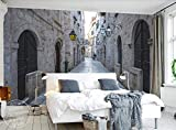 EUKMUIJ Papel Tapiz fotográfico 3D Murales en Relieve Fondos de Pantalla para Sala de Estar, Espacio de extensión de callejón de Arquitectura Europea