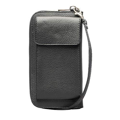 Lara Lauren City Wallet cb bag aus hochwertigem Leder mit verstellbarem langen Tragriemen Maße 19,5 x 11 x 4cm (black)