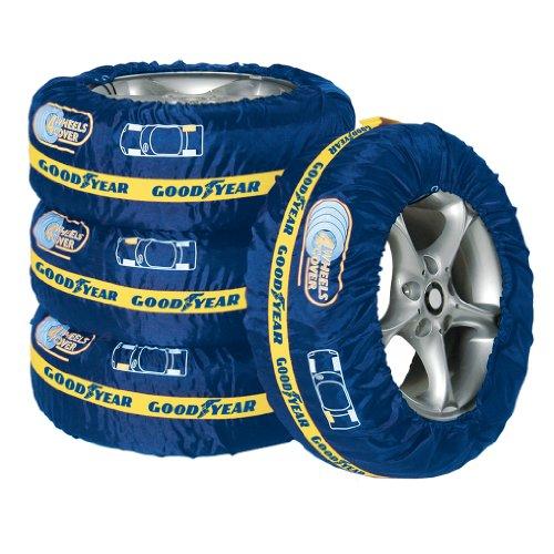 Goodyear 75526 Premium Reifentaschen-Set, Reifenschutzhülle, 4-teilig, wasserabweisend, waschbar, schwarz-rot, für sauberen Transport und sichere Aufbewahrung
