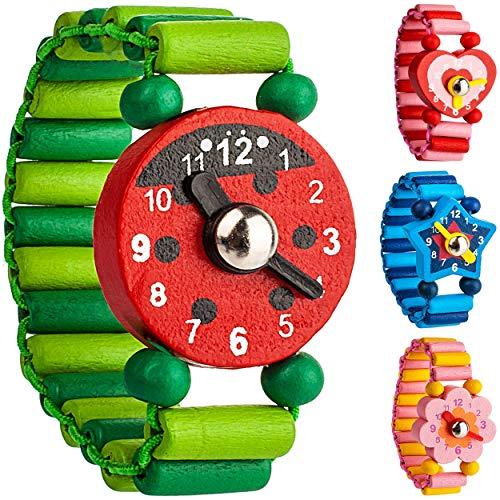 alles-meine.de GmbH 1 Stück _ Armbanduhr / Kinderuhr - Motiv-Mix - aus Holz - bewegliche Zeiger ! - Armband mit Lernuhr - Uhr für Kinder - Mädchen & Jungen - Holzarmbanduhr - Ana..