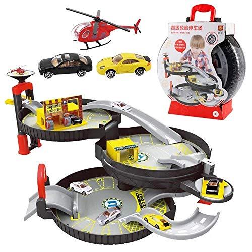 Dirgee Rennstrecke Set, Garage Spielzeug Spiralrollenschiene, Legierungsfahrzeuge Kinder Stadtreifen Parkplatz Garage Spielzeug Auto LKW Fahrzeug Modell Automobil Kinder Spielset