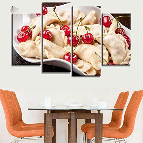 ANTAIBM® 4 Wandkunst-Malplakat Holzrahmen - verschiedene Größen - verschiedene StileÖlgemälde Leinwand drucken Stillleben süßer Kuchen Obst Blume Kunst Poster dekorative Bilder für Küche Zimmer 4 Stüc
